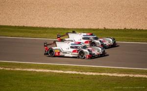 zwei Audi R18 e-tron am Nürburgring WEC 2015