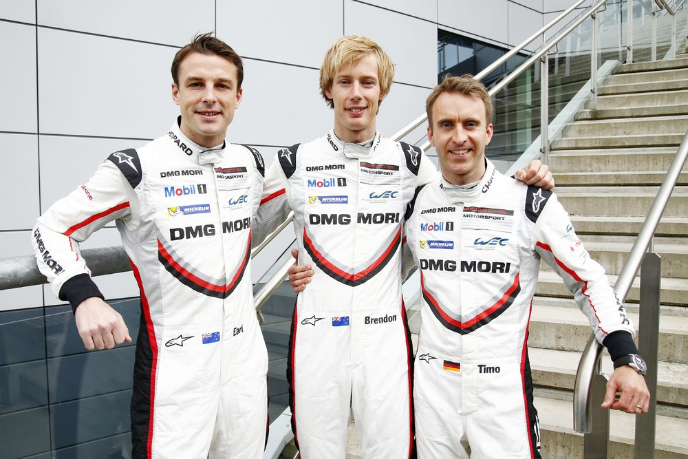 Porsche LMP Team (2): Earl Bamber, Brendon Hartley, Timo Bernhard (l-r)